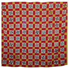 Old unused Quilt TOP LeMoyne Stars ~ Cheddar/T-red