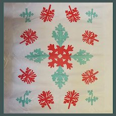 Antique Applique Medallion Quilt ~ Jade green and Red on White