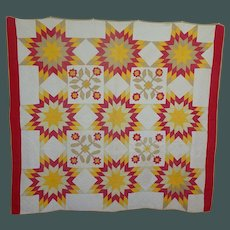 1800's Applique quilt Cheddar, tan, and  Red  Striking!