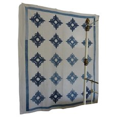 Antique Applique Quilt Indigo and White  not perfect