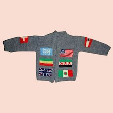 Vintage Childs hand knit Sweater - World Flags Motif