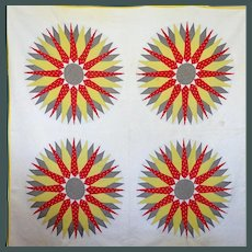 1800's Mariner's Compass Great Bright Quilt