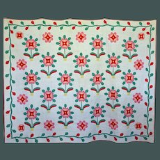 Applique Quilt a beautiful potted Flower 12-spi