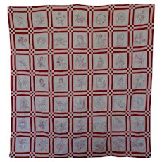 Antique Red Work Quilt 1900 great sashing
