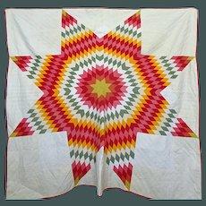Antique Lone Star Quilt  1903 Cheddar