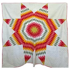Antique Lone Star Quilt  1903 Cheddar