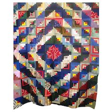 Log Cabin Quilt TOP Stunning. c1880 Foundation pieced Unused VIBRANT !