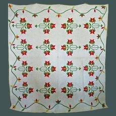 Antique Tulip Applique Quilt mid 1800's