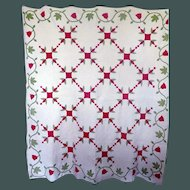 Antique Applique Quilt Mid-1800's Tulips Fab quilting