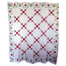 Antique Applique Quilt Mid-1800's Tulips
