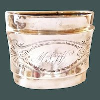Antique Coin Silver Napkin Ring Oval Engraved
