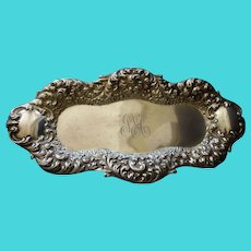 Antique Sterling  Dresser Tray Repousse Plumes & Forget-me-nots