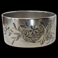 Sterling Napkin Ring Aesthetic Butterfly Bright Cut