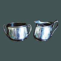 Old Gorham Sterling Cream & Sugar Grapevines 14.6 oz 1871