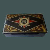 Antique Paper Mache Snuff Box--Compass Rose & faux tortoise