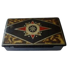 Antique Paper Mache Snuff Box--Compass Rose & faux tortoise