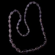 "Victorian Amethyst Necklace Faceted 34"" graduated sizes"