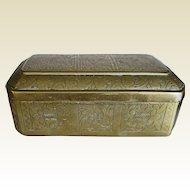 OLD Chinese Brass Box Decorative Chasing