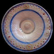 Heisey Round Platter -painted design--sweet
