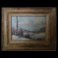 Snow Scene Oil Painting in the Country- signed
