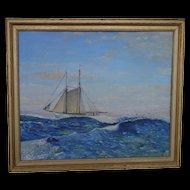 Oil Painting Sailing Ship 1944  H. Trenn Maritime Nautical