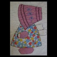 Sun Bonnet Sue Vintage Charm Quilt-all different feed sack Sues