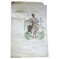 Print ~Jeune Sauvage (Christophe Colomb.) Paris 1854
