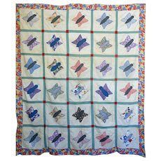 Quilt TOP ~ Mid-west Feed Sack Applique Butterfly --great print border