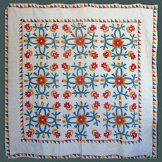 19th c. Applique Quilt -Cheddar, red, teal green ~2 frames of sawtooth borders