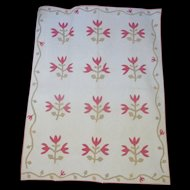 1800's Applique Quilt- Tulip Sprigs vines- zoom the quilting