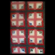 1800's Log Cabin Foundation Pieced Quilt--great different colors