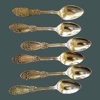 Polhemus 1858 Sterling Demitasse spoons 6 pc. ORIENTAL  Polhamus
