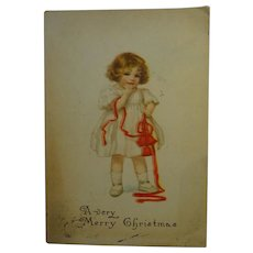 Old Christmas Card Little Girl with ribbons and bells