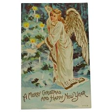 Old Postcard Angel lighting candles Christmas /New Year