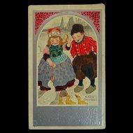 old Postcard Dutch Children feeding Ducks Christmas