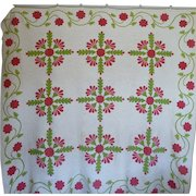 Trapunto Applique Quilt EXQUISITE initialed 1800's SALE