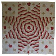 mid-1800 Lone Star Quilt v. fine work w Satellites -a Treasure