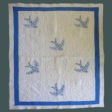 Vintage 30's Child''s Blue Bird Quilt