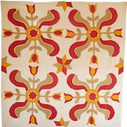 Applique 4-block Quilt TOP Tulips Red Cheddar Tan VIBRANT
