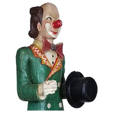 Hand Carved Wooden Clown Life Size 1950's