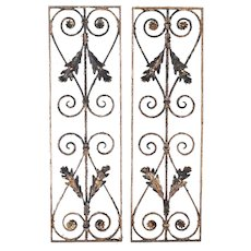 Architectural Salvage Flowers & Scrolls Wrought Iron Panels Pair c. 1890