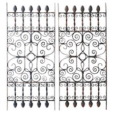 Architectural Salvage Wrought Iron Panels Pair c. 1890
