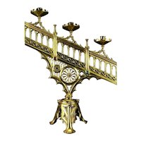 Gothic Victorian Brass Candelabra  c.1900