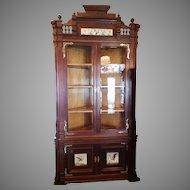Corner Cupboard Cabinet American Victorian in Walnut dated 1878
