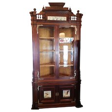 Corner Cupboard Cabinet American Victorian in Walnut dated 1878