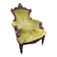 John Jelliff Victorian Renaissance Revival Carved Walnut Arm Chair  c. 1870's