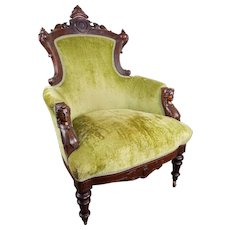 John Jelliff Victorian Renaissance Revival Carved Walnut Arm Chair  c. 1870's