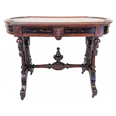 American Victorian Center Table w Inset Tennessee Marble    c.1870