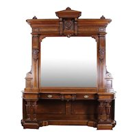 American Victorian Entrance Hall or Dining Room Mirror c. 1870's