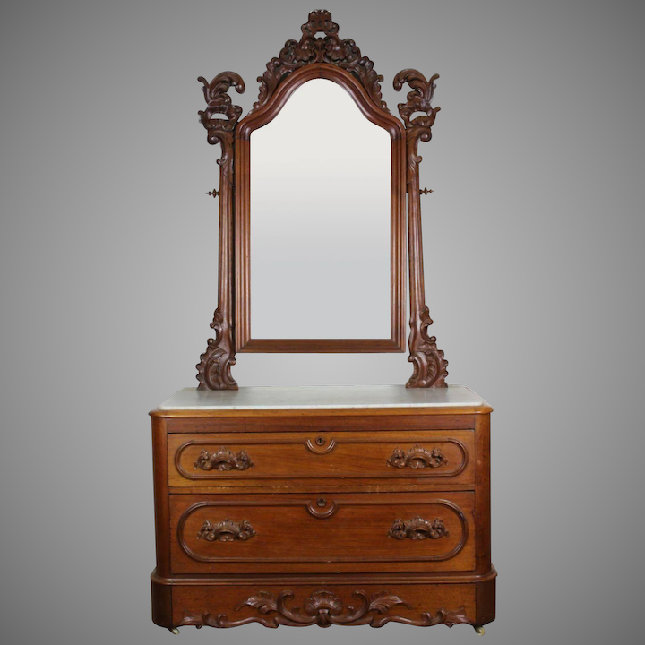 American Victorian Marble Top Dresser With Mirror C 1860 S
